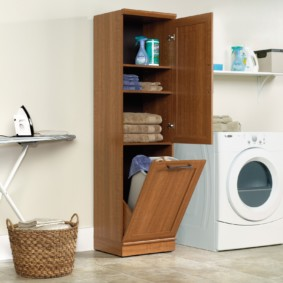 шкаф пенал с бельевой корзиной для ванной фото идеи