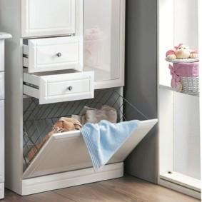 шкаф пенал с бельевой корзиной для ванной фото вариантов