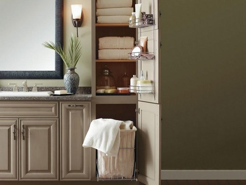 шкаф пенал с бельевой корзиной для ванной фото видов