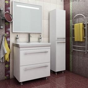 шкаф пенал с бельевой корзиной для ванной идеи декор