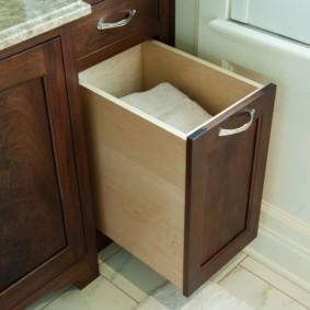 шкаф пенал с бельевой корзиной для ванной идеи оформления