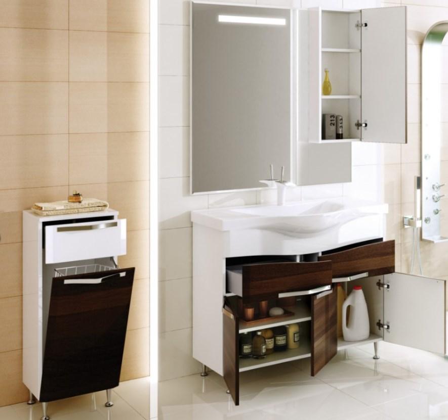 шкаф пенал с бельевой корзиной для ванной идеи видов