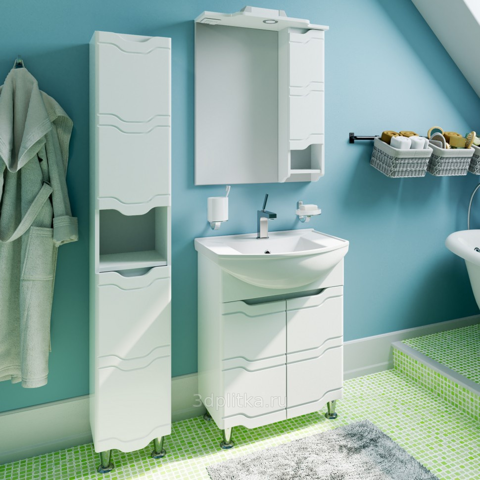 шкаф пенал с бельевой корзиной для ванной интерьер