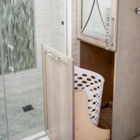 шкаф пенал с бельевой корзиной для ванной дизайн идеи
