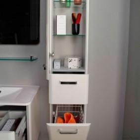 шкаф пенал с бельевой корзиной для ванной фото дизайн