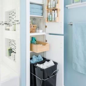 шкаф пенал с бельевой корзиной для ванной фото интерьера