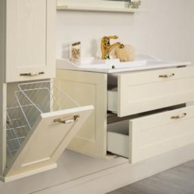 шкаф пенал с бельевой корзиной для ванной идеи дизайн