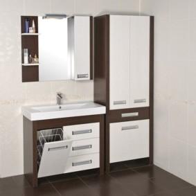 шкаф пенал с бельевой корзиной для ванной идеи интерьера