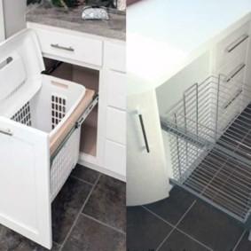 шкаф пенал с бельевой корзиной для ванной идеи виды