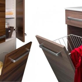 шкаф пенал с бельевой корзиной для ванной интерьер фото