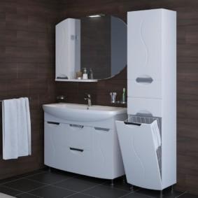 шкаф пенал с бельевой корзиной для ванной интерьер идеи