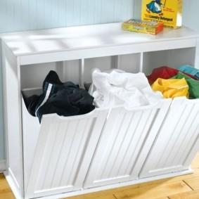 шкаф пенал с бельевой корзиной для ванной виды