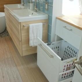 шкаф пенал с бельевой корзиной для ванной виды идеи