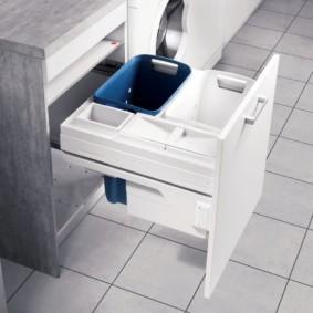 шкаф пенал с бельевой корзиной для ванной оформление