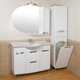 шкаф пенал с бельевой корзиной для ванной варианты идеи