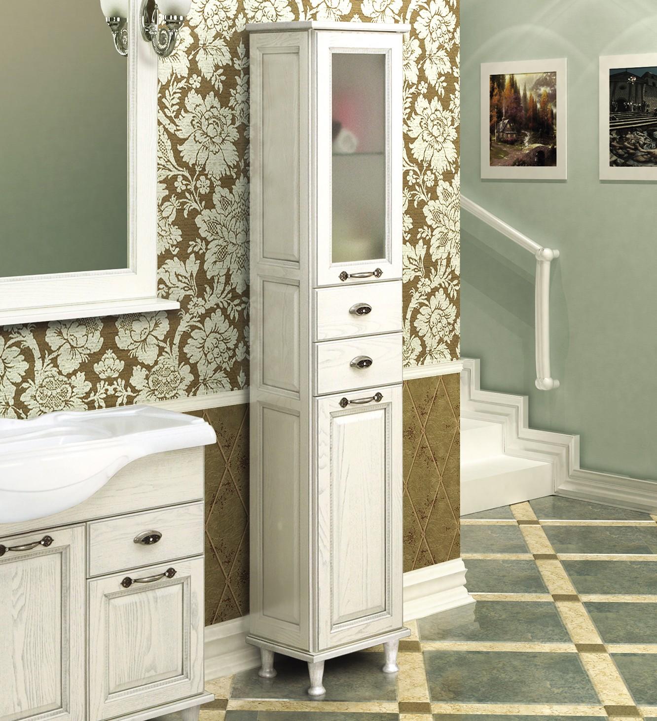 шкаф пенал с бельевой корзиной для ванной