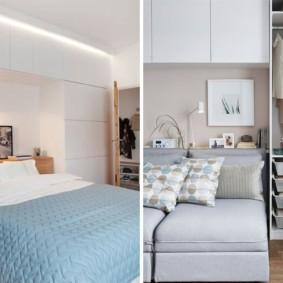 шкафы над кроватью в спальне фото варианты