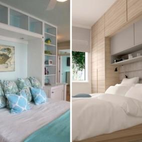 шкафы над кроватью в спальне идеи видов