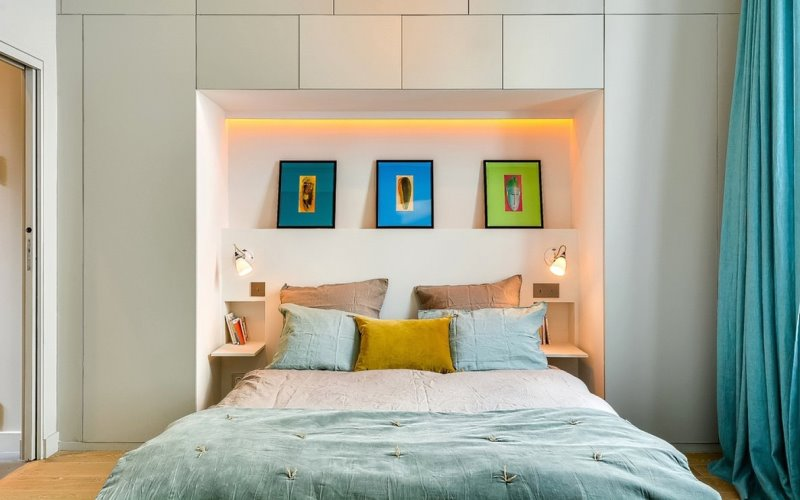 шкаф над кроватью в спальне виды дизайна