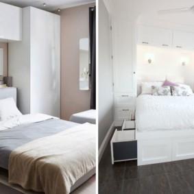 шкафы над кроватью в спальне виды оформления
