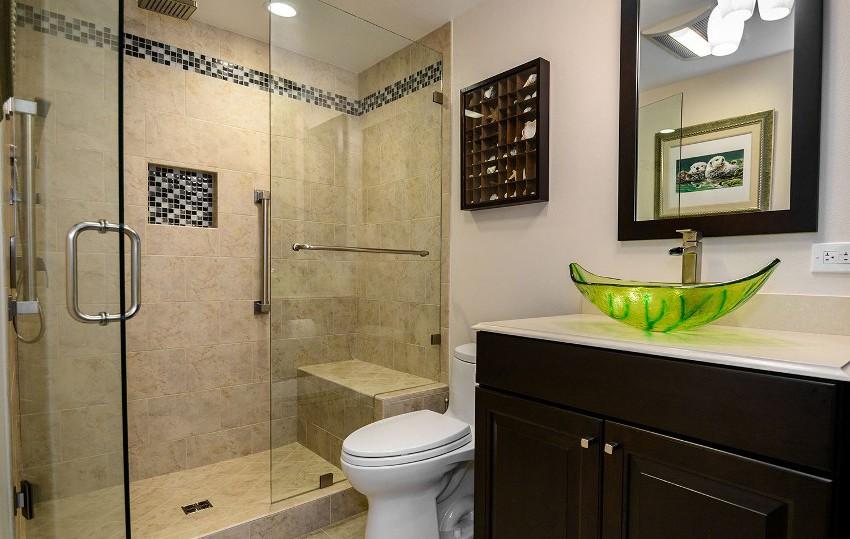 шторка для ванной комнаты из стекла дизайн