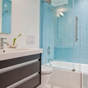шторка для ванной комнаты из стекла фото оформления
