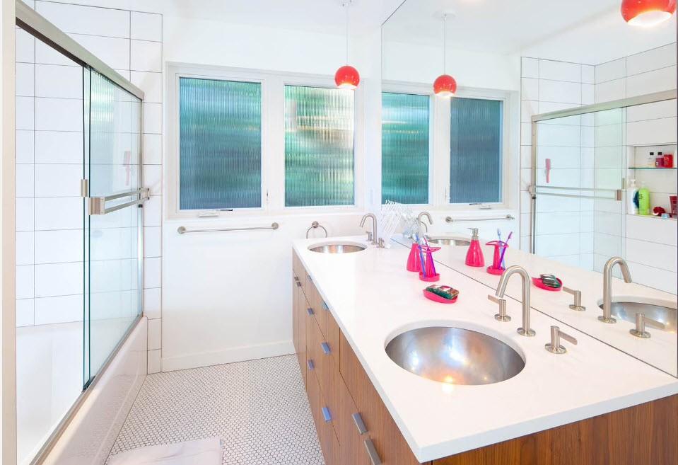 шторка для ванной комнаты из стекла интерьер идеи