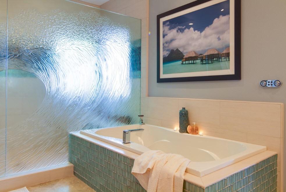 шторка для ванной комнаты из стекла интерьер