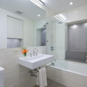 шторка для ванной комнаты из стекла оформление