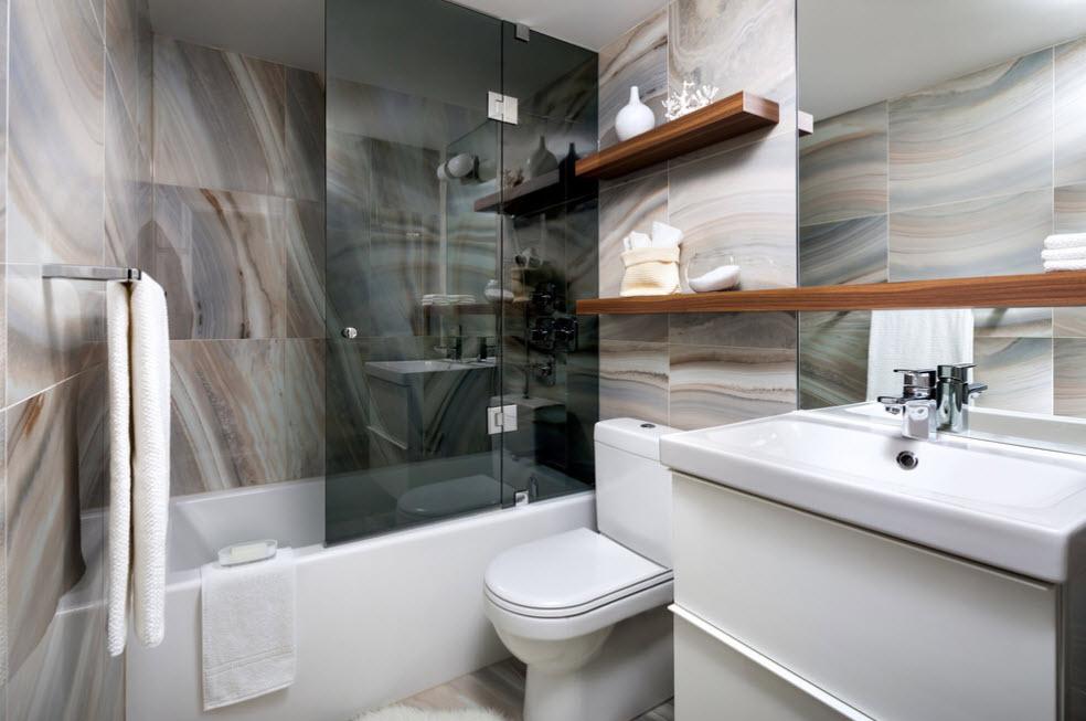 шторка для ванной комнаты из стекла оформление фото