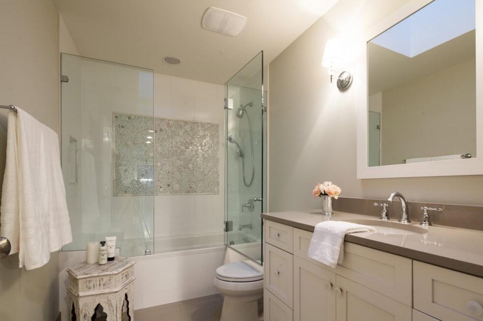 шторка для ванной комнаты из стекла оформление идеи