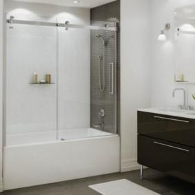 шторка для ванной комнаты из стекла варианты интерьера