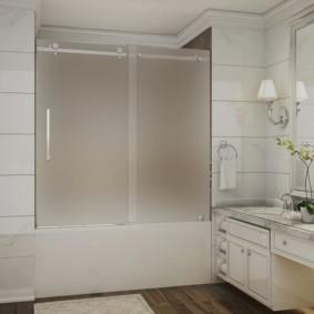 шторка для ванной комнаты из стекла виды декора