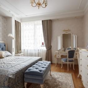 спальня в стиле неоклассика шторы