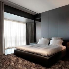спальня в стиле хай тек шторы