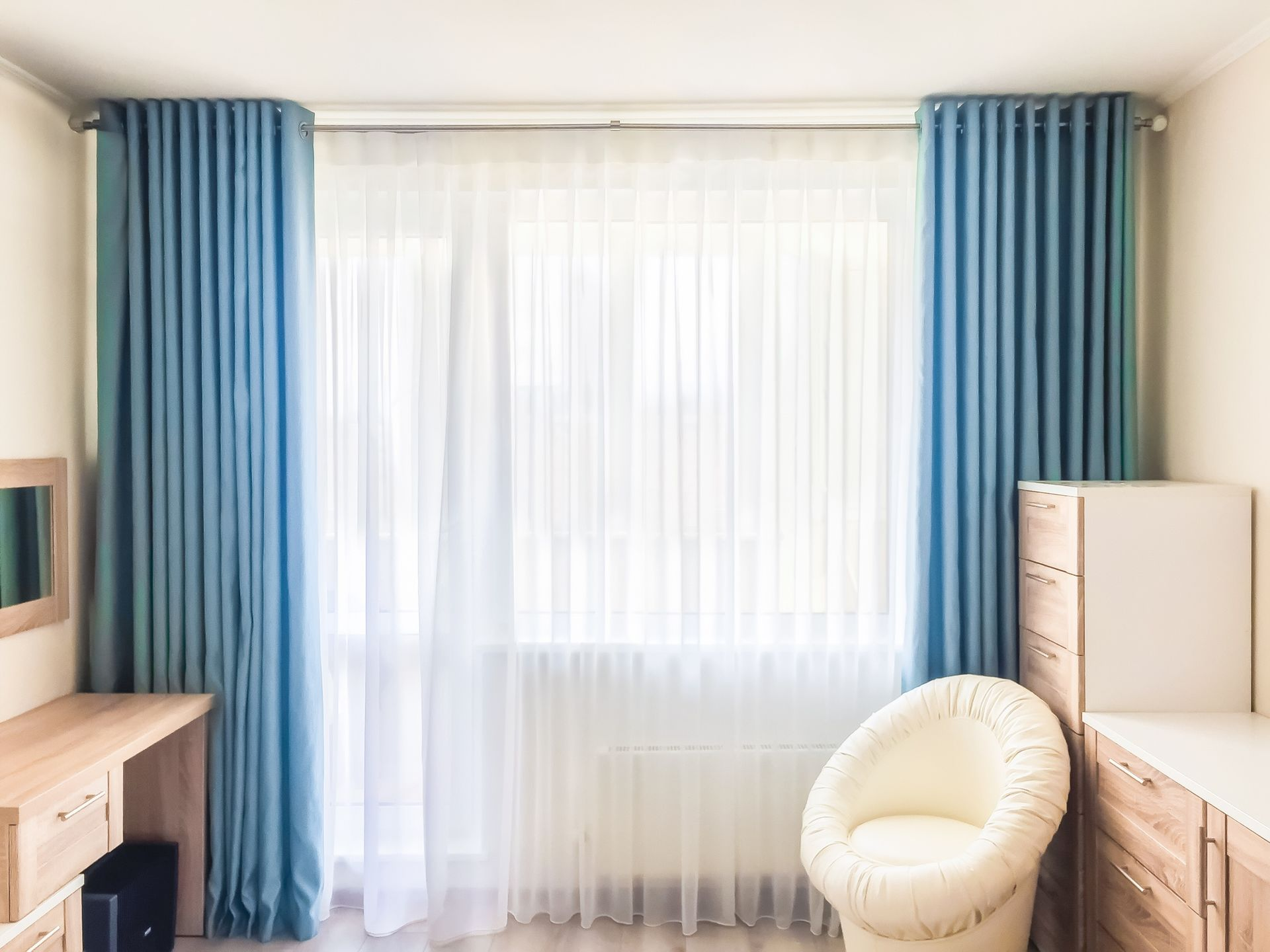 шторы на люверсах с тюлем
