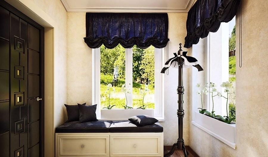 шторы в прихожей в частном доме фото интерьер