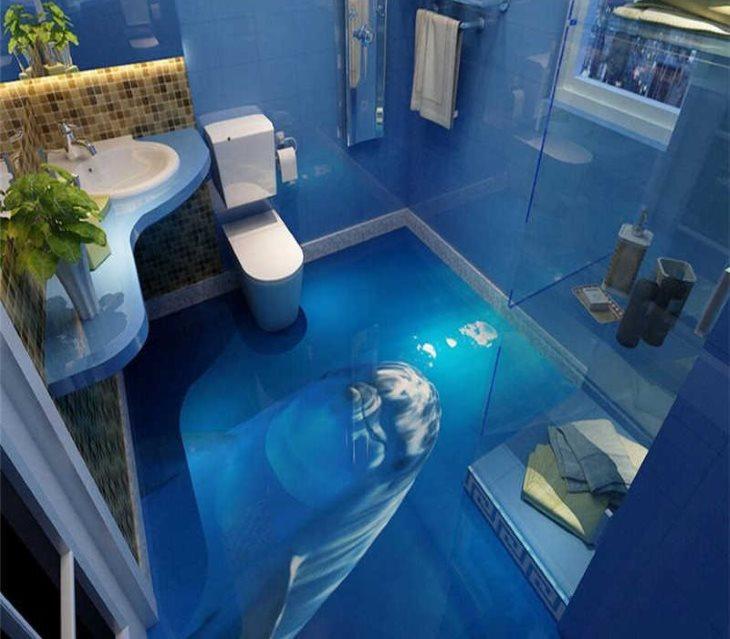 Синий пол в ванной квадратной формы