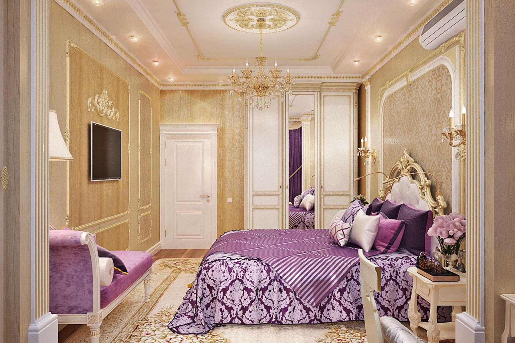 сиреневая спальня декор фото