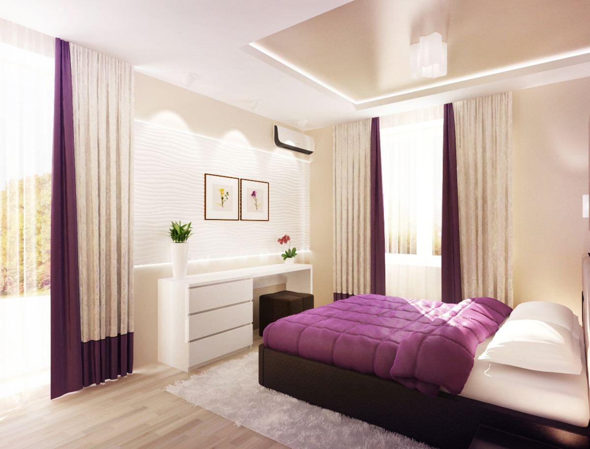 сиреневая спальня декор идеи