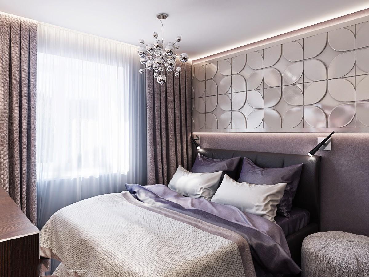 сиреневая спальня декор