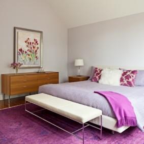 сиреневая спальня фото декор