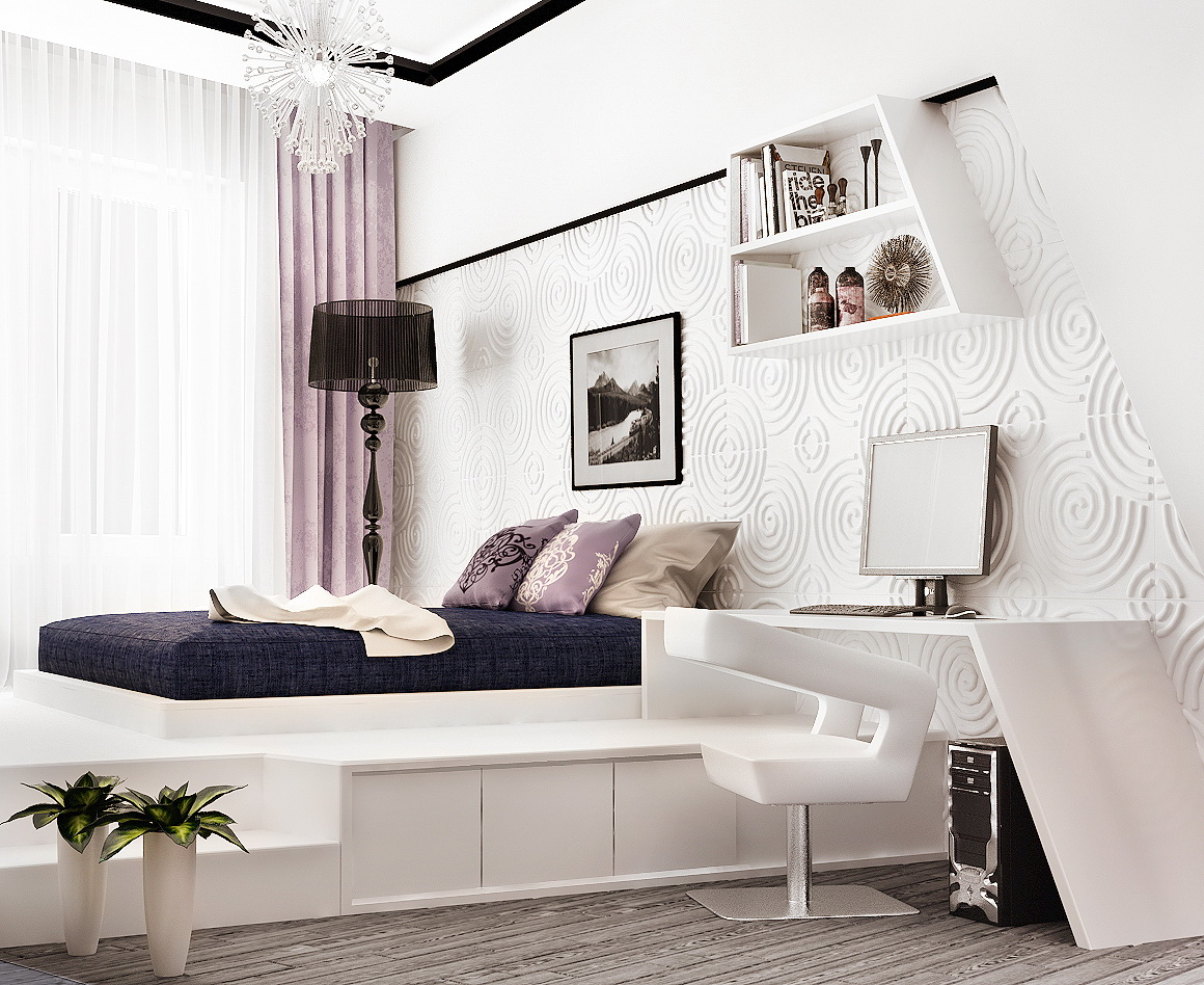 сиреневая спальня фото декора