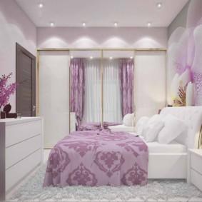 сиреневая спальня оформление