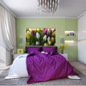 сиреневая спальня оформление идеи
