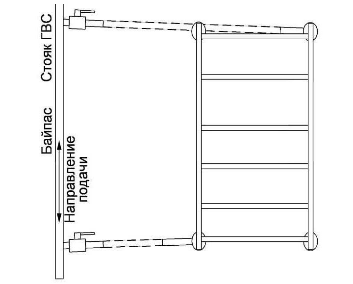 Подключение полотенцесушителя лесенка диагональным способом