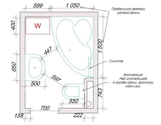 Схема-план совмещенного сантехнического узла