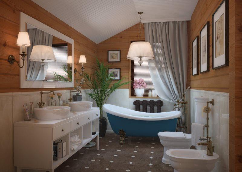 Деревянная отделка ванной комнаты в деревенском стиле