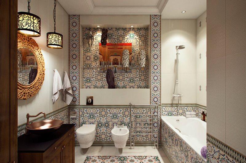 Интерьер совмещенной ванной в восточном стиле