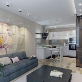 Декор модульной картиной стены над диваном
